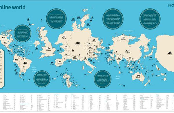 Domeinnaam landenextensies wereldwijd